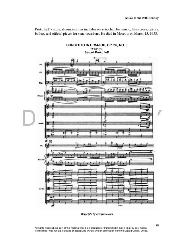 DEPED COPY Music of the 20th Century 15 Prokofieff's musical compositions include concerti, chamber music, film scores, op...
