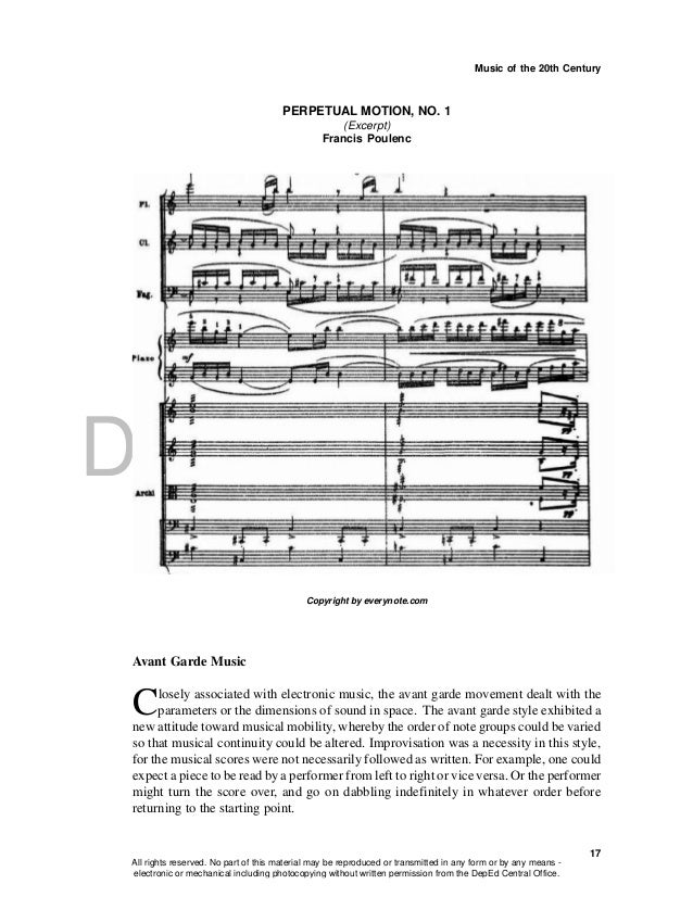 DEPED COPY Music of the 20th Century 17 PERPETUAL MOTION, NO. 1 (Excerpt) Francis Poulenc Avant Garde Music Closely associ...