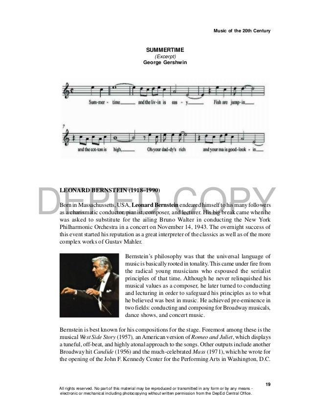 DEPED COPY Music of the 20th Century 19 SUMMERTIME (Excerpt) George Gershwin LEONARD BERNSTEIN (1918–1990) Born in Massach...