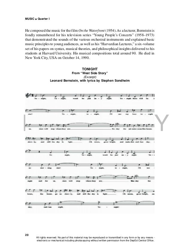 DEPED COPY MUSIC  Quarter I 20 He composed the music for the film On the Waterfront (1954).As a lecturer, Bernstein is fo...