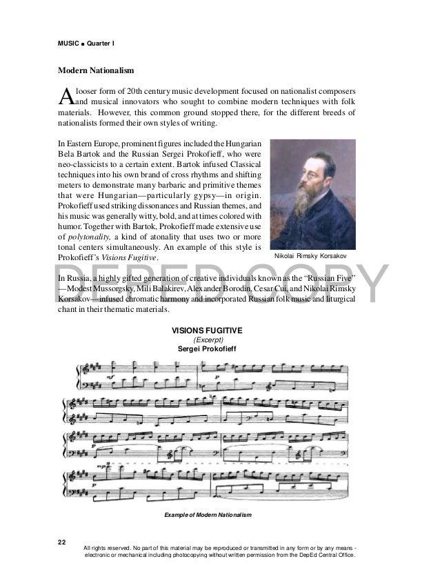 DEPED COPY MUSIC  Quarter I 22 Modern Nationalism Alooser form of 20th century music development focused on nationalist c...