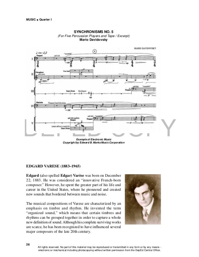 DEPED COPY MUSIC  Quarter I 26 SYNCHRONISMS NO. 5 (For Five Percussion Players and Tape / Excerpt) Mario Davidovsky Examp...