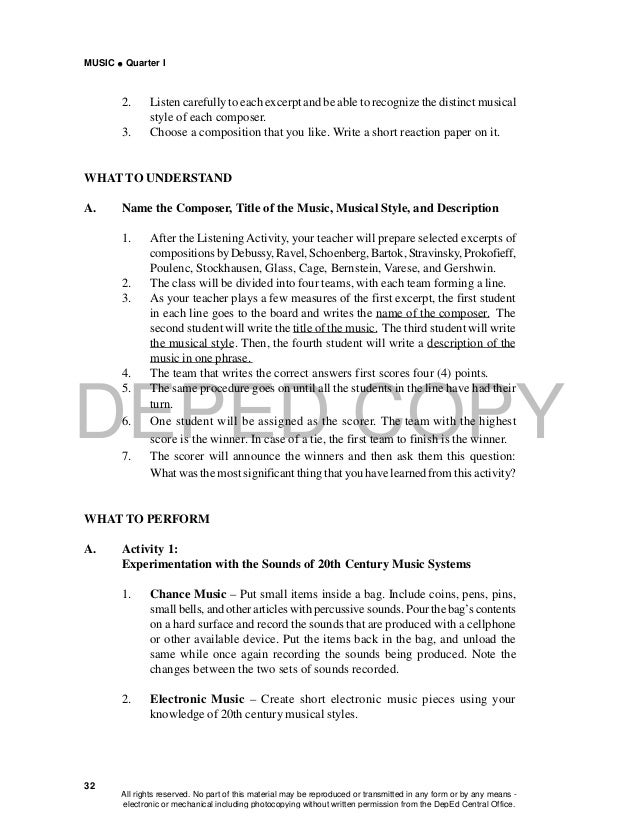 DEPED COPY MUSIC  Quarter I 32 2. Listen carefully to each excerpt and be able to recognize the distinct musical style of...