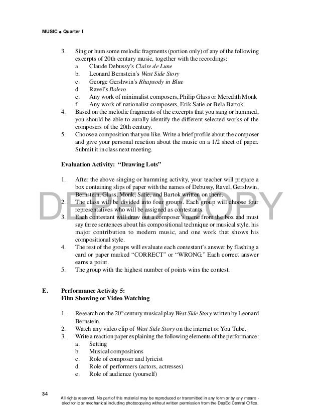 DEPED COPY MUSIC  Quarter I 34 3. Sing or hum some melodic fragments (portion only) of any of the following excerpts of 2...