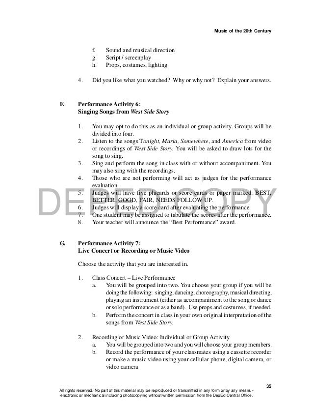 DEPED COPY Music of the 20th Century 35 f. Sound and musical direction g. Script / screenplay h. Props, costumes, lighting...