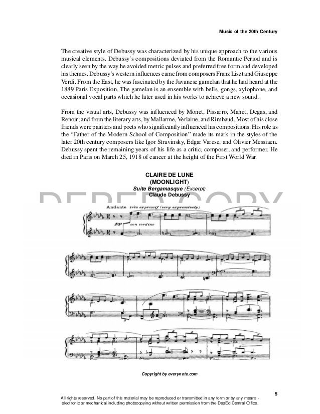 DEPED COPY Music of the 20th Century 5 The creative style of Debussy was characterized by his unique approach to the vario...