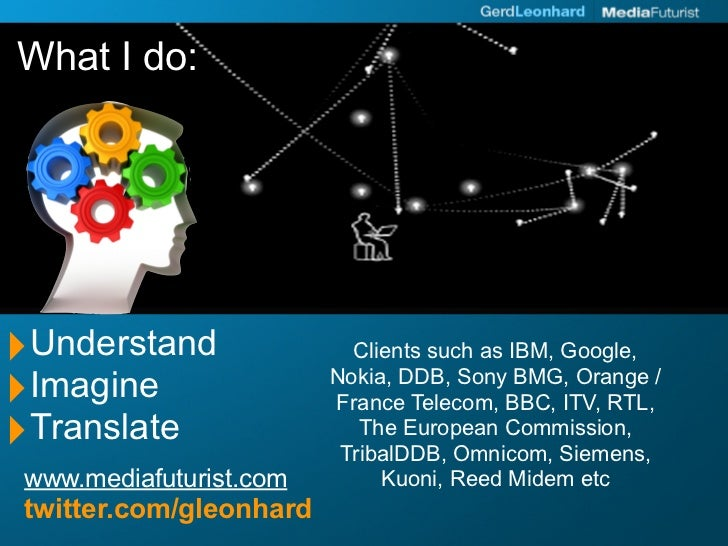 What I do:     ‣Understand                Clients such as IBM, Google,  ‣Imagine                 Nokia, DDB, Sony BMG, Ora...