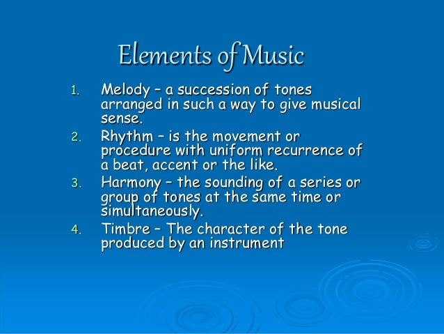 7 different elements of music