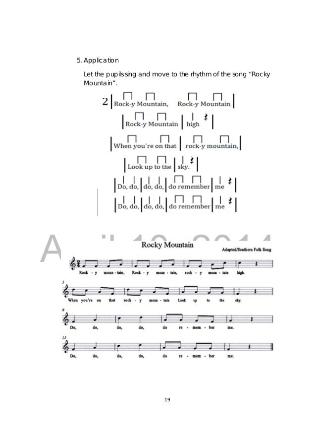 Lyric song lyrics with mountain : Grade 3 Music Teachers Guide