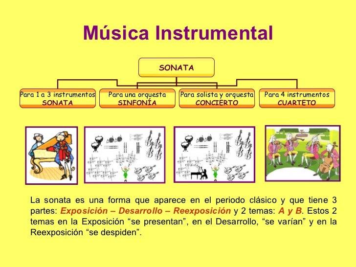 Música Instrumental La sonata es una forma que aparece en el periodo clásico y que tiene 3 partes:  Exposición – Desarroll...