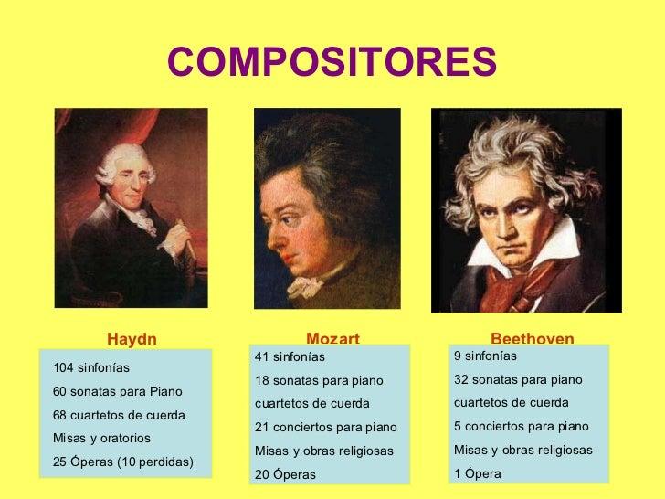 COMPOSITORES Haydn  Mozart  Beethoven 104 sinfonías 60 sonatas para Piano 68 cuartetos de cuerda Misas y oratorios 25 Óper...