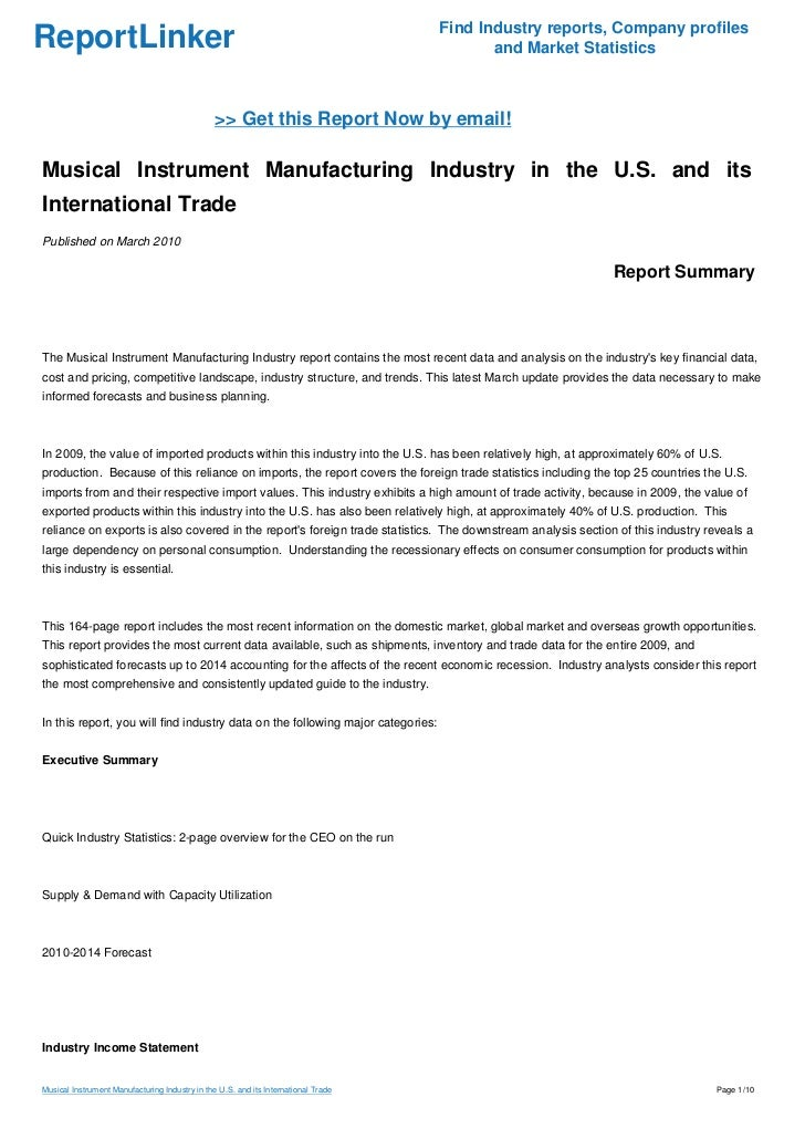 Musical Instrument Manufacturing Industry in the U.S. and its International Trade