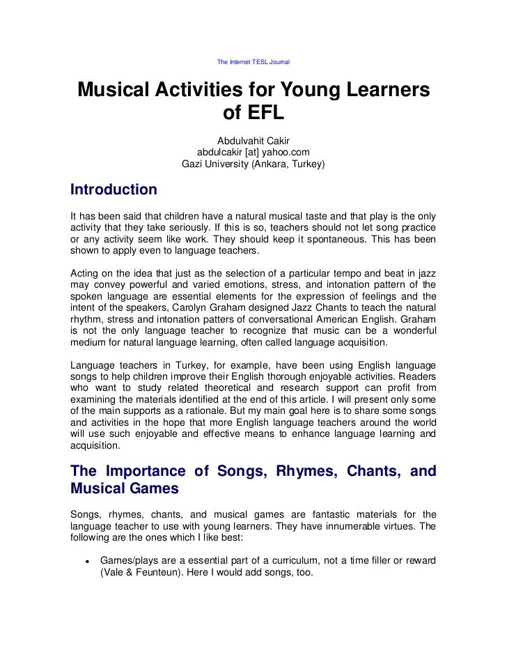 The Internet TESL Journal Musical Activities for Young Learners                 of EFL                                 Abd...