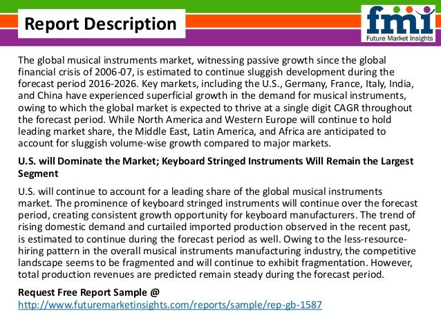 The global musical instruments market, witnessing passive growth since the global financial crisis of 2006-07, is estimate...