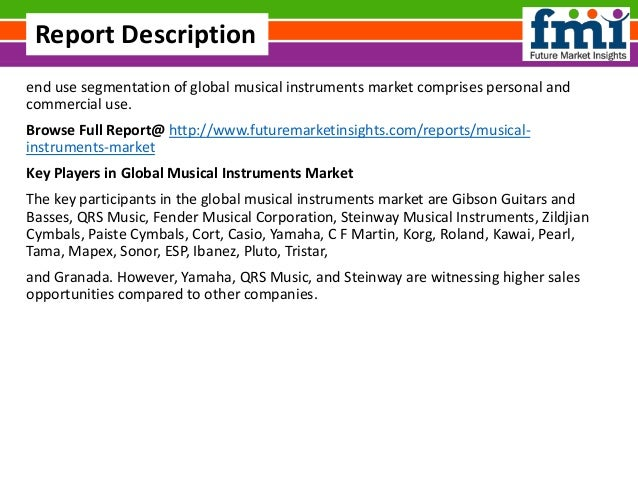 end use segmentation of global musical instruments market comprises personal and commercial use. Browse Full Report@ http:...