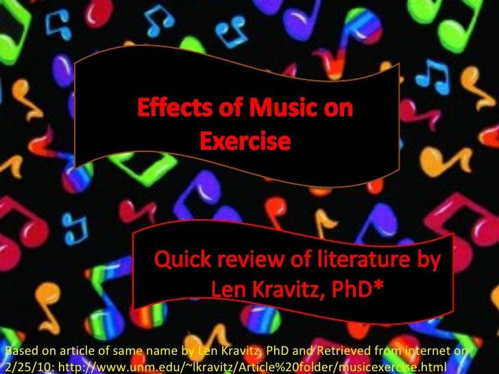 Based on article of same name by Len Kravitz, PhD and Retrieved from internet on 2/25/10: http://www.unm.edu/~lkravitz/Art...