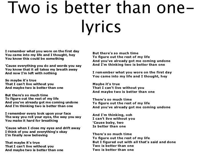 without you one two lyrics