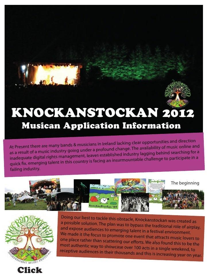 KNOCKANSTOCKAN 2012      Musican Application Information                                          sicians in Ireland lacki...