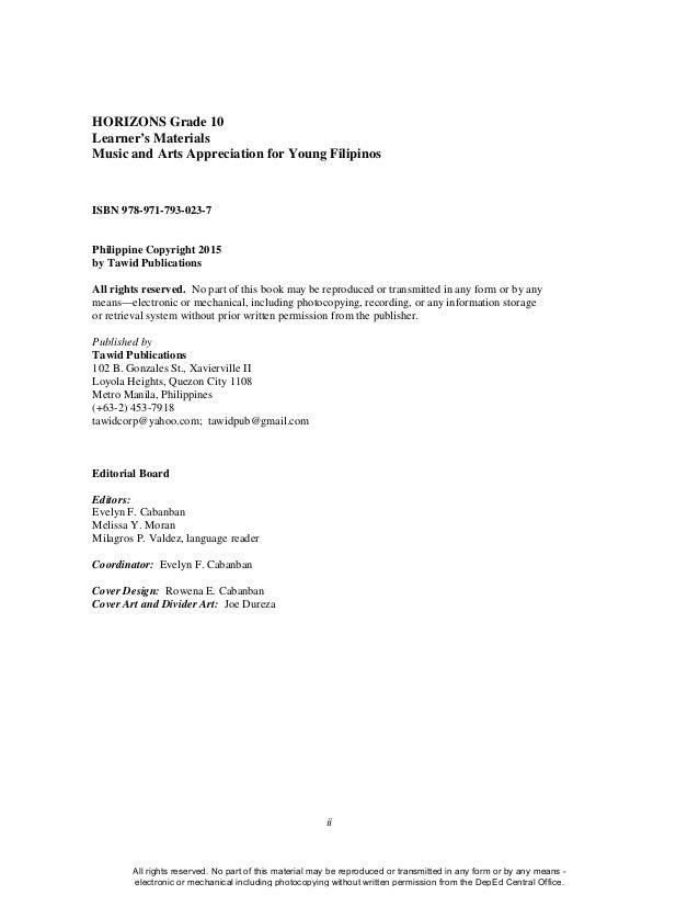 MUSIC and ARTS Gr. 10 Learner's Module   Quarter 1 to 4 complete Slide 2
