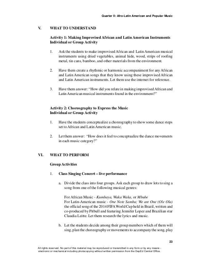 Lyric brazil song lyrics : Music & arts gr10 TG Teaching Guide qtr 1 to qtr 4 complete