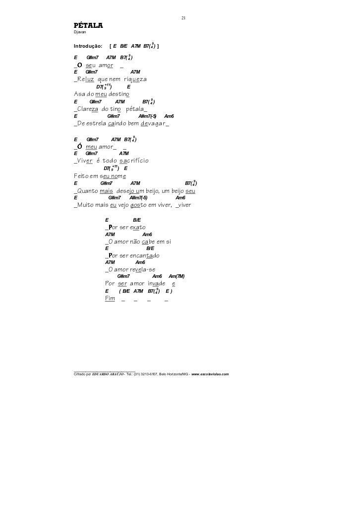 21PÉTALADjavan                                                        9Introdução:           [ E B/E A7M B7( 4 ) ]        ...