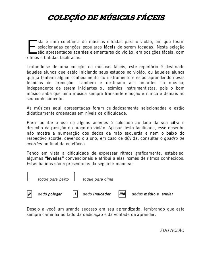 SIECÁF SACISÚM ED OÃÇELOCE     sta é uma coletânea de músicas cifradas para o violão, em que foram     selecionadas cançõ...