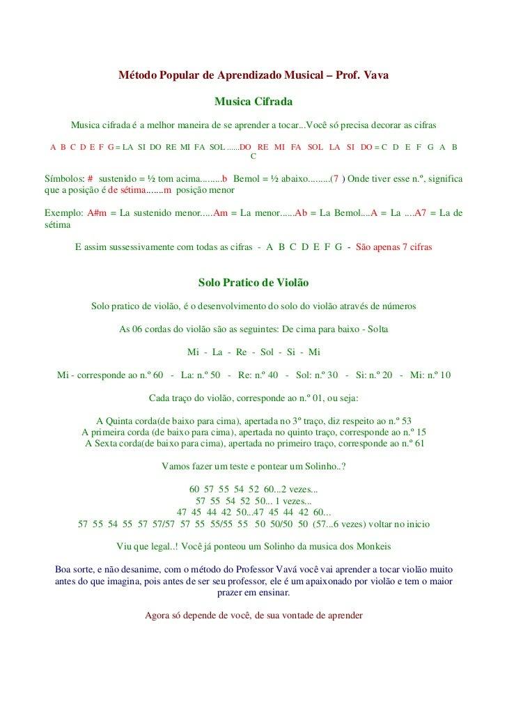 Método Popular de Aprendizado Musical – Prof. Vava                                           Musica Cifrada      Musica ci...