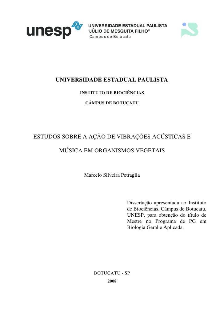 Ca m p u s d e B otu ca tu           UNIVERSIDADE ESTADUAL PAULISTA               INSTITUTO DE BIOCIÊNCIAS                ...