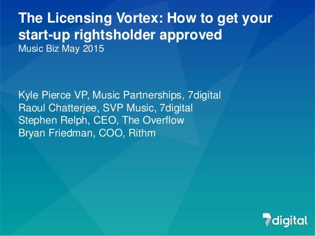 The Licensing Vortex: How to get your start-up rightsholder approved Music Biz May 2015 Kyle Pierce VP, Music Partnerships...