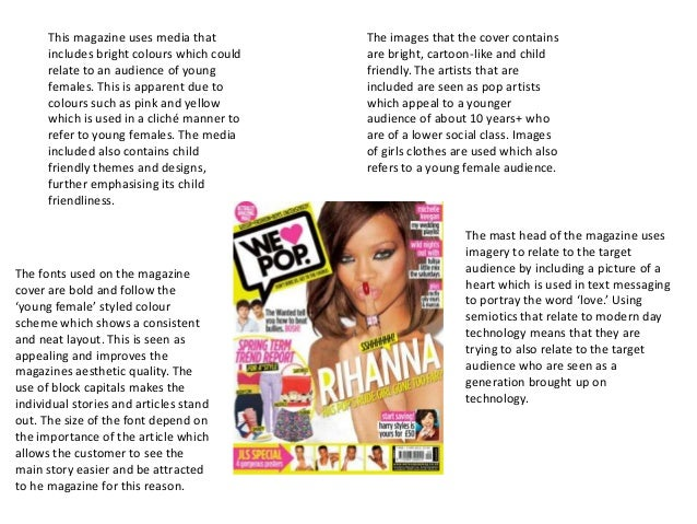 This magazine uses media that         The images that the cover contains      includes bright colours which could   are br...