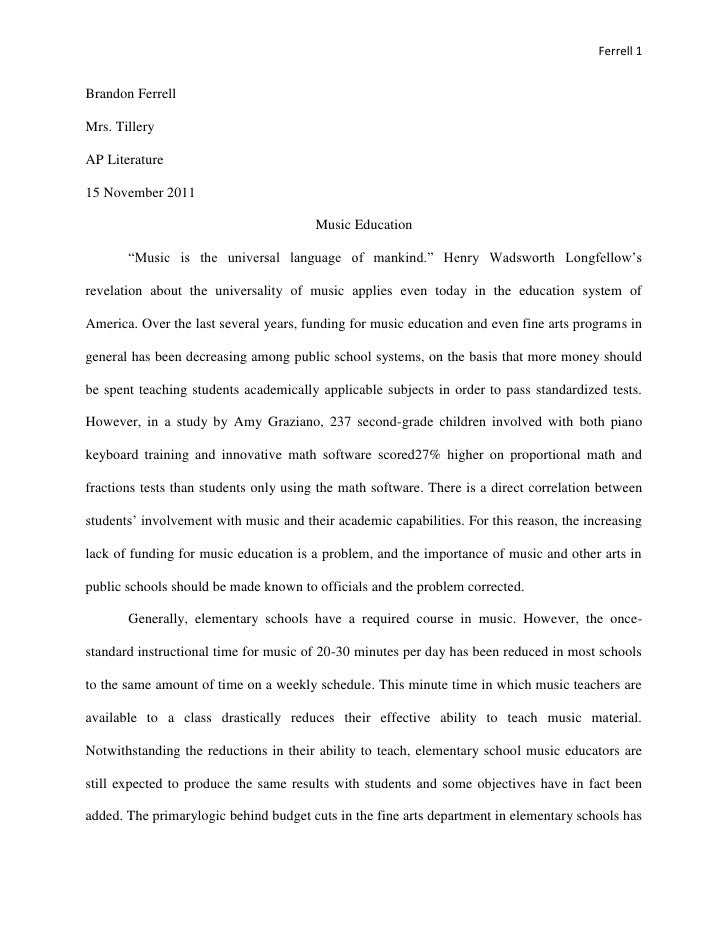 Music Education Research Paper