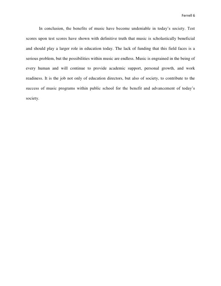 music education research paper 6 ferrell 6 in conclusion