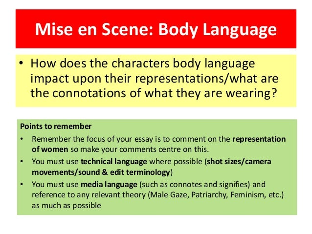 music essay lesson  mise en scene body language • how does the characters body language impact upon their