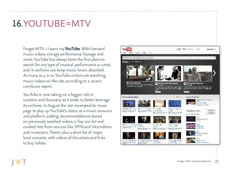 16.yOuTuBE = MTv  forget MTv—I want my youTube. With licensed  music videos, vintage performance footage and  more, youTub...