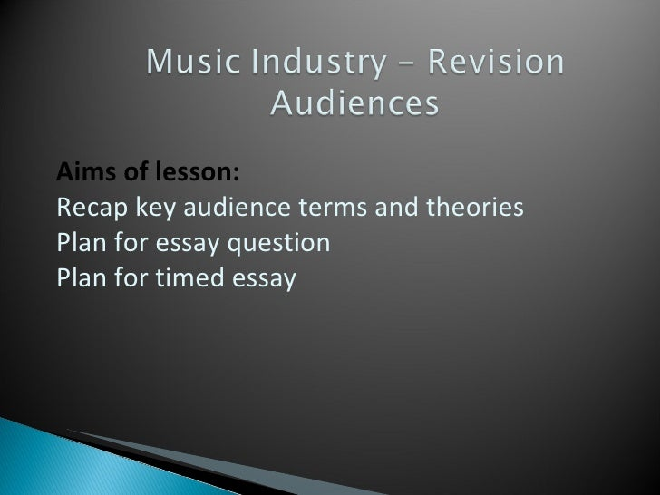 Aims of lesson: Recap key audience terms and theories  Plan for essay question Plan for timed essay
