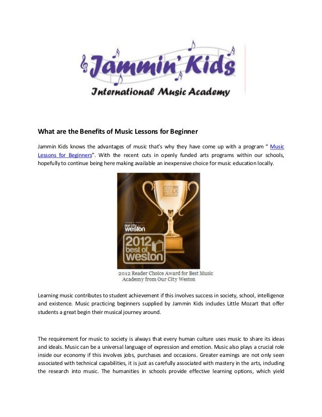 What are the Benefits of Music Lessons for BeginnerJammin Kids knows the advantages of music that's why they have come up ...
