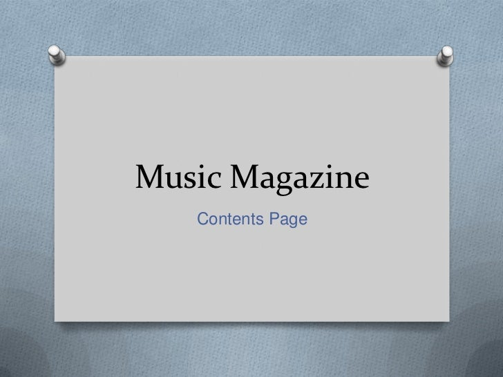 Music Magazine   Contents Page
