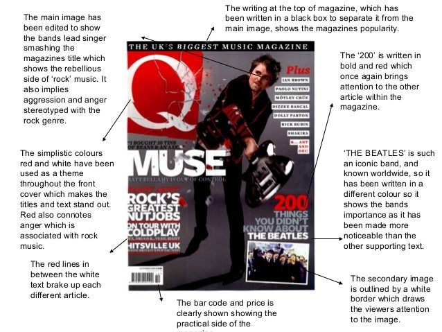 The main image has been edited to show the bands lead singer smashing the magazines title which shows the rebellious side ...