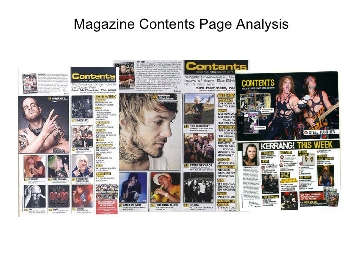 Magazine Contents Page Analysis