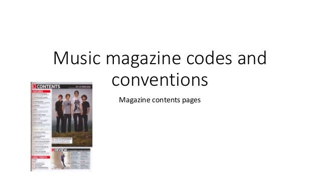 Music magazine codes and conventions Magazine contents pages