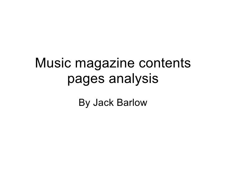 Music magazine contents pages analysis By Jack Barlow