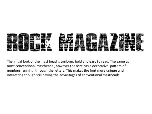 Music magazine fonts