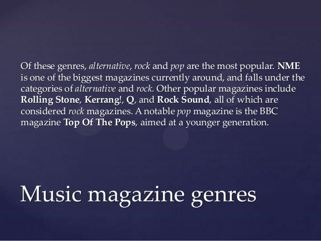 Music Magazine Genres