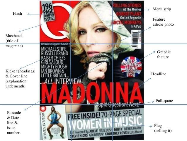 Masthead (title of magazine) Plug (selling it) Headline Feature article photo Flash Kicker (headings) & Cover line (explan...