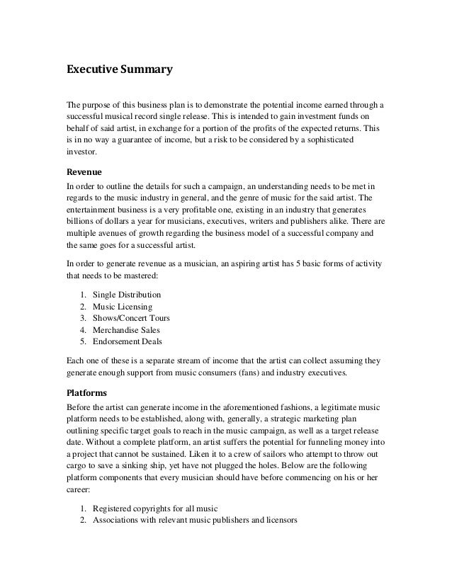 Executive Summary The Purpose Of This Business Plan Is To Demonstrate The  Potential Income Earned Through ...  Executive Summary Outline Examples Format