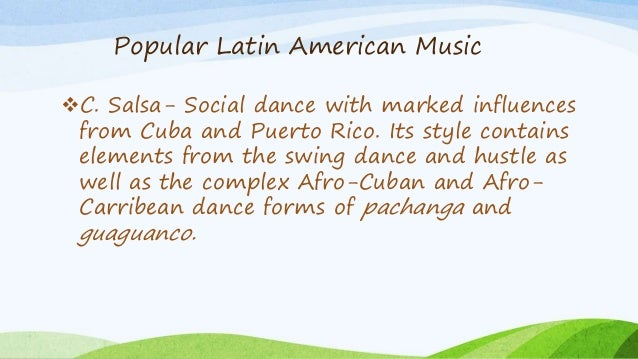 latin american music essay Musical cultures of latin america makes them a particularly interest- ing trio for   this essay reviews the following titles: jane l fiorine, cuarteto music and.