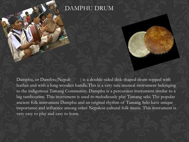 DAMPHU DRUMDamphu, or Damfoo,(Nepali:           ) is a double-sided disk-shaped drum topped withleather and with a long wo...