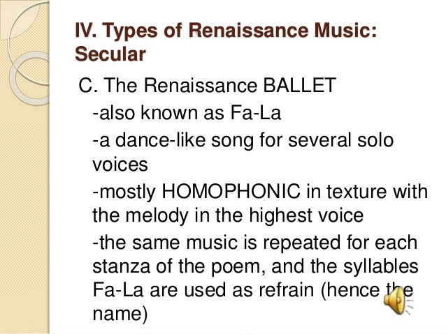 Music of the Renaissance Period
