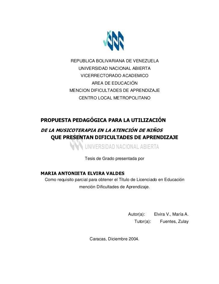 REPUBLICA BOLIVARIANA DE VENEZUELA                  UNIVERSIDAD NACIONAL ABIERTA                   VICERRECTORADO ACADEMIC...