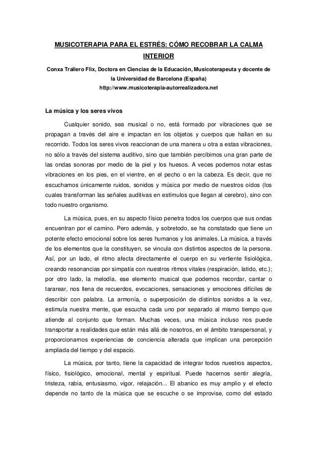 MUSICOTERAPIA PARA EL ESTRÉS: CÓMO RECOBRAR LA CALMA                                      INTERIORConxa Trallero Flix, Doc...